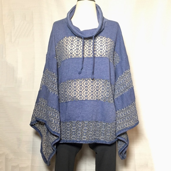 Free People Crotchet Poncho Funnel Neck Sweater